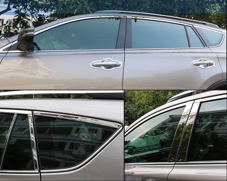 Хромированные молдинги окон дверей Toyota Rav-4 (2013-2017)